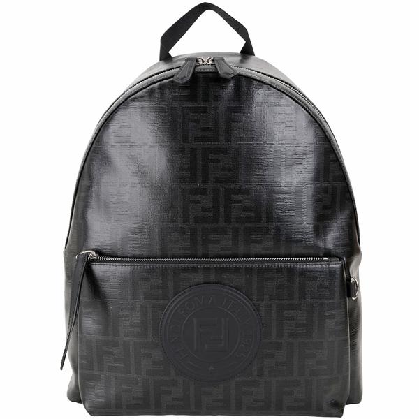 FENDI Stamp FF經典老花釉面帆布後背包(黑色)1920498-01
