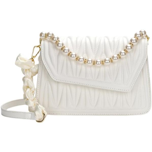 珍珠鏈條包 法國小眾小包包女包夏高級感褶皺珍珠斜挎包新款2021白色 ww