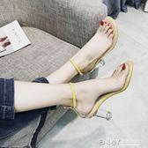 高跟涼鞋 涼鞋新款女夏季韓版百搭透明高跟鞋一字扣中空學生露趾羅馬鞋 檸檬衣舎