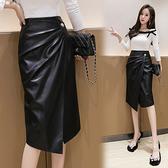 pu皮裙半身裙~2080#黑色皮裙半身裙中長款洋氣顯瘦氣質修身百搭包臀裙T621快時尚