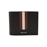 【台中米蘭站】全新品 BALLY Tydan 防刮皮革紅白條對開短夾(6235705-咖)