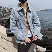 韓版潮流外套秋裝男復古著感牛仔夾克衫學生字母刺繡淺色上衣服 卡布奇諾