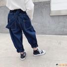 女童牛仔褲秋裝兒童吊帶褲子寶寶休閒背帶長褲【淘嘟嘟】