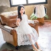 女童連身裙春秋薄款中大童公主裙兒童純棉蕾絲夏長袖白色小仙女洋裝 LF3263『寶貝兒童裝』