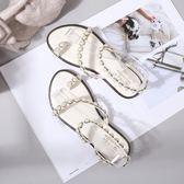 珍珠涼鞋  2018新款涼鞋夏簡約一字帶夾腳羅馬珍珠性感平底涼鞋