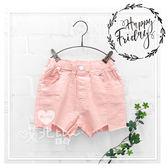 中大童  不規則下擺口袋粉紅牛仔短褲 女童 韓版 童裝