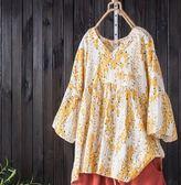 棉麻襯衫女夏新款寬鬆大碼V領碎花顯瘦娃娃衫短袖亞麻上衣T恤