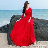 雪紡連身裙2021秋季七分袖雪紡紅色連身裙女春秋長款大擺沙灘裙顯瘦修身氣質 非凡小鋪