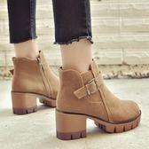 粗跟韓版磨砂高跟英倫百搭學生短靴子女chic馬丁靴冬  琉璃美衣