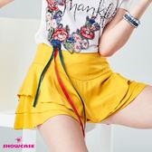 【SHOWCASE】V型寬腰三層荷葉襬褲裙(黃)