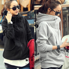 【QD9055】魔衣子-休閒保暖高領加絨加厚連帽長袖外套