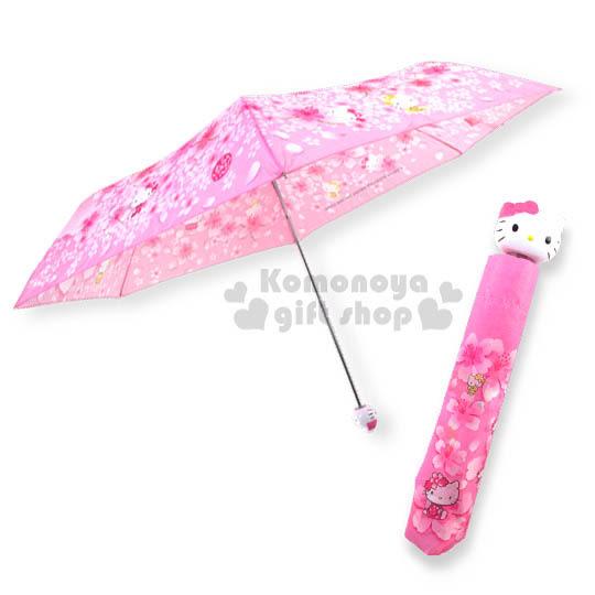 〔小禮堂〕Hello Kitty 頭型柄雨陽傘《粉.多動作.櫻花滿版》UV加工.攜帶方便折傘4991567-25320