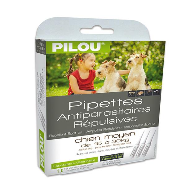 寵物家族-【法國皮樂Pilou】二代非藥用除蚤蝨滴劑中型犬用(3支各3ml-15kg上下)
