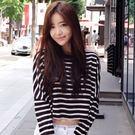 黑白條紋露肚臍寬鬆短版長袖上衣【F024...