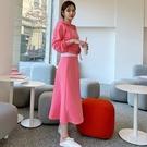 【限量現貨供應】韓國製.簡約休閒素色鬆緊長裙+長袖連帽外套.白鳥麗子