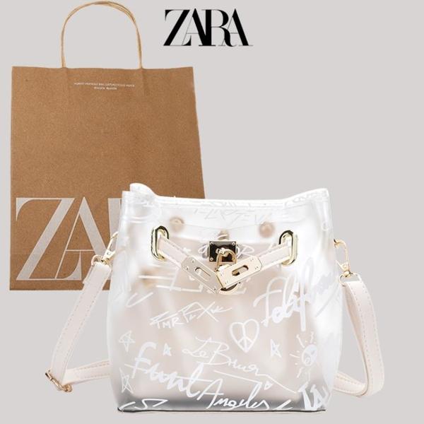 zara今年流行透明包包女包夏百搭時尚果凍包斜挎包字母涂鴉水桶包 小艾新品