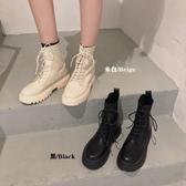 馬丁靴 馬丁靴女針織靴秋季時尚英倫風百搭繫帶厚底拼接短靴子 小天後