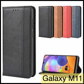 【萌萌噠】三星 Galaxy M11 復古紋商務款 錢包式側翻皮套 A11 可插卡磁吸 全包軟殼 手機殼