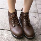 短靴.MIT簡約素面側拉鍊繫帶短靴.白鳥麗子