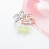 【NiNi Me 】韓系戒指氣質優雅甜美三層微鑲水鑽開口式戒指戒指F0015