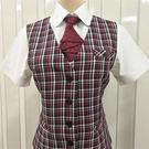 【HTY-32B-A】紅色格紋女西裝背心【團體餐飲制服】【新品】