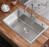 304不銹鋼4mm手工水槽單槽廚房大洗菜盆洗碗台上盆台下雙槽  3C公社