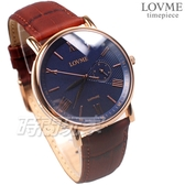 LOVME 羅馬時刻 風情城市 真皮腕錶 防水 藍寶石水晶 男錶 藍色x玫瑰金 VL0081M-4C-B41