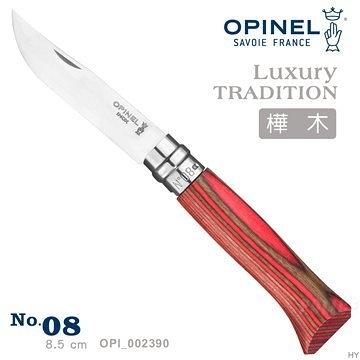 丹大戶外【OPINEL】No.08 法國刀豪華刀柄系列-樺木刀柄/紅 OPI_002390