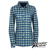 PolarStar 女 針織格子長袖襯衫 『蘋果綠』P15214