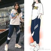 套裝 休閒套裝女夏新款韓版寬鬆短袖t恤哈倫褲跑步運動兩件套 秋季新品