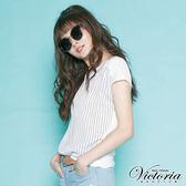 Victoria  直條加網布拼接短袖T-女-白色
