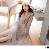 輕奢優雅氣質西裝領拼接金蔥紗裙中長洋裝 OB嚴選《DA8201-》