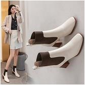 粗跟短靴 天天大東女靴拼色彈力靴真皮方頭馬丁靴女粗跟秋冬百搭短靴女中跟 艾維朵
