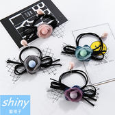 【DJB7202】shiny藍格子-手工系立體佈藝花瓣髮圈