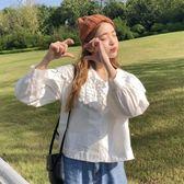 韓版甜美蕾絲鏤空花邊大翻領襯衫寬鬆長袖襯衣女上衣學生 伊衫風尚