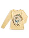 BOBSON 女款貓頭鷹印圖長袖上衣(黃34099-30)