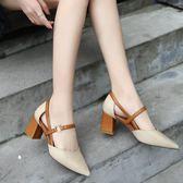 涼鞋 韓版中跟粗跟單鞋一字扣帶尖頭高跟鞋2019春季新款瑪麗珍包頭涼鞋 探索