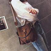 包包女 潮百搭學生水桶包寬肩帶子母包單肩手提側背包   薔薇時尚