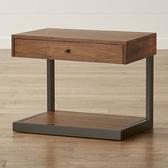 北歐簡易松木床頭櫃鐵藝簡約現代組裝沙發櫃美式工業風實木邊櫃