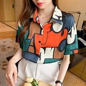短袖襯衫~緞面短袖印花襯衣寬松外穿港風日風情輕熟氣質短袖GDB503C日韓屋