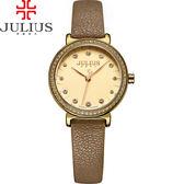 JULIUS 聚利時 翩翩花瓣舞鑽飾皮錶帶腕錶-咖啡色/28mm【JA-965E】