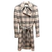 【奢華時尚】BURBERRY 米色經典格紋克什米爾羊毛女用大衣(全新未使用)#24031