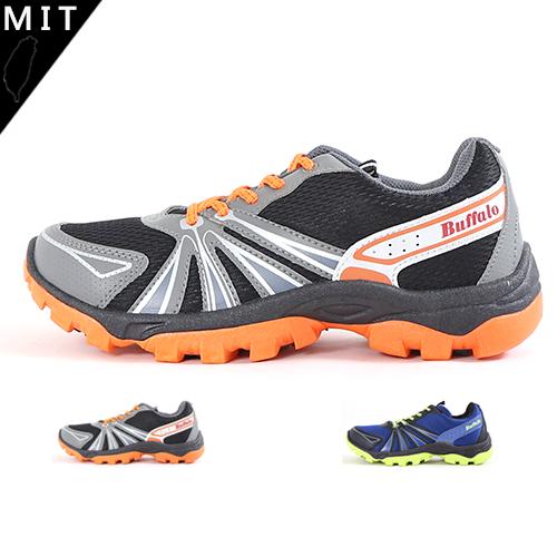 男款 Newbuffalo 牛頭牌 側邊流線暢條 綁帶 透氣網布 PVC硬底保護 輕量舒適 運動慢跑鞋 59鞋廊