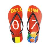 QWQ創意鞋-  世界盃足球紀念鞋 比利時 細帶女款天然橡膠人字拖