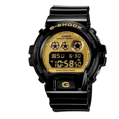 G-SHOCK 搖滾前衛風格數位運動錶-黑X金