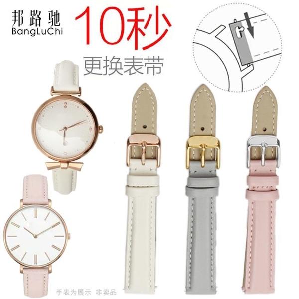 女錶帶粉色藍色代用阿瑪尼迪奧巴寶莉DW化石無紋錶鍊14 16mm 【年終盛惠】
