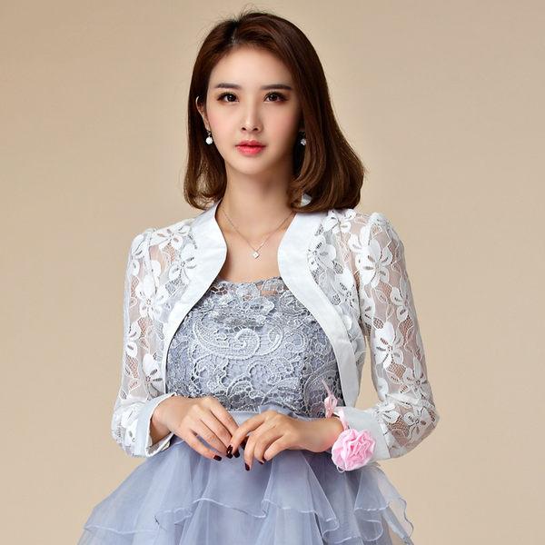中大尺碼*短款百搭花朵蕾絲長袖禮服搭配小外套~美之札