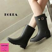 [ALMANDO-SHOES] 正韓中筒透氣雨鞋/雨靴(黑色)