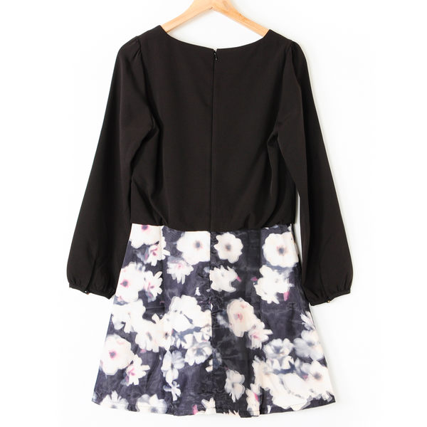 【MASTINA】網紗印花長袖拼接洋裝-黑 好康優惠