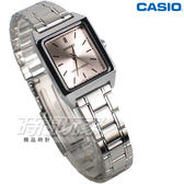 CASIO卡西歐 LTP-V007D-4E 休閒風尚方型石英錶 不銹鋼女錶 防水 學生錶 粉 LTP-V007D-4EUDF